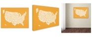 "Trademark Global Michael Tompsett 'SUNSET-USA States Text Map' Canvas Art - 47"" x 30"""